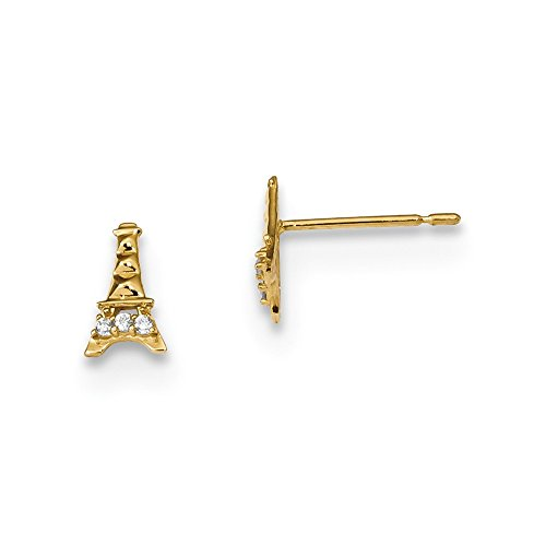 14k Yellow Gold Kids Cubic Zirconia Cz Eiffel Tower Post Stud Earrings Ball Button Travel Fine Jewelry For Women Gifts For Her