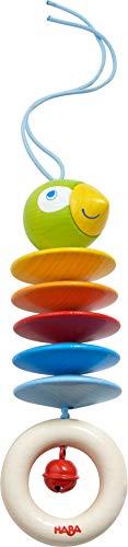 HABA 305230 - Hängefigur Papagei, Babyspielzeug für Babyschale, Spieltrainer, Kinderbett und Kinderwagen, mit Glöckchen, Holzspielzeug ab 6 Monaten