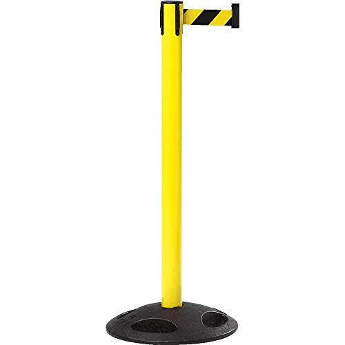 RS-GUIDESYSTEMS GLA 25-E/17-4,0 Gurtpfosten, außen, gelb, gelb/schwarz schraffiert, 4 m Personenleitsystem aus Kunststoff