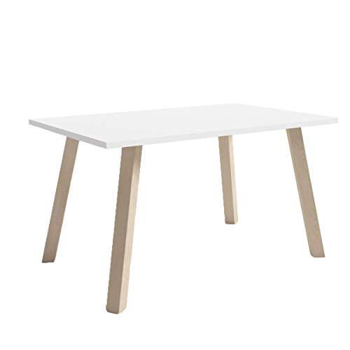 Trend Home Jacob Table basse design scandinave avec pieds en bois de hêtre Blanc