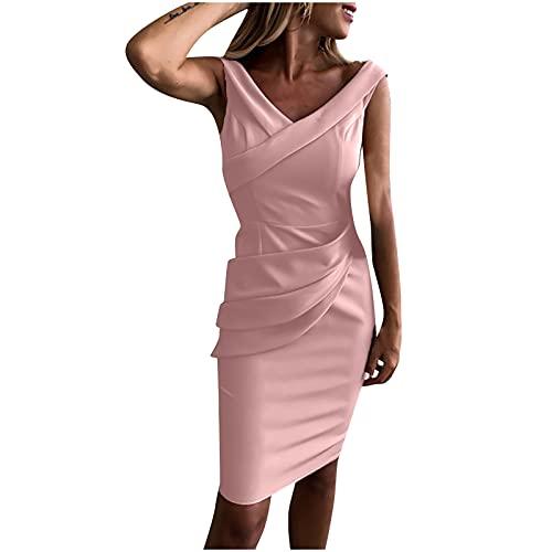 Etuikleid für Damen Sexy Fashion einfarbiges Business-Kleid Bodycon-Kleid mit Rüschen Ärmelloses, schlankmachendes Arbeitskleid mit V-Ausschnitt