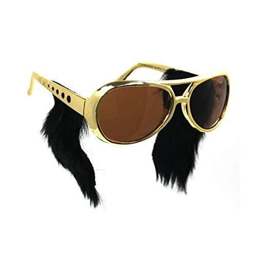 EROSPA® Sonnenbrille Elvis Presley mit Kotletten - Gold / Schwarz