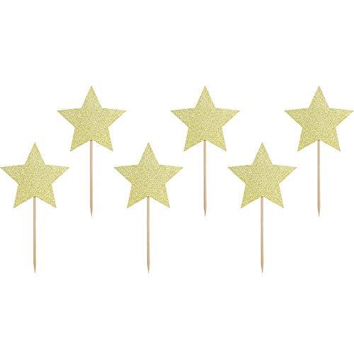 DekoHaus 6 Stück Cupcake Topper Sterne in Goldbrokat 11,5cm Tortenaufleger Kuchendekoration Muffindekoration Candybar
