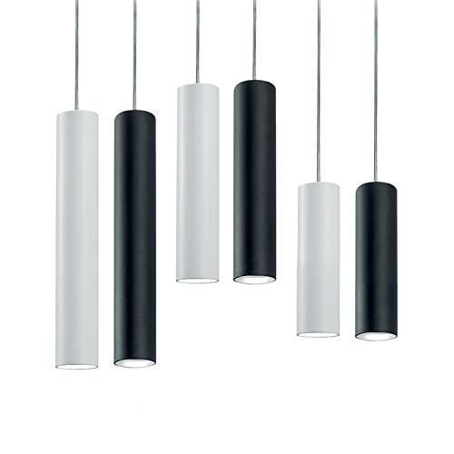 Pendelleuchte Zylinder H30 für die Decke, moderner Sockel GU10, Lampenschirm aus weiß lackiertem Metall Modern H40 cm Schwarz