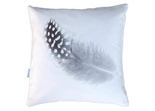 Feder Motiv Kissen, schwarz/weiß, Baumwolle, 40x40 cm Hülle, Design Motiv, Deko, Sofa, Garten