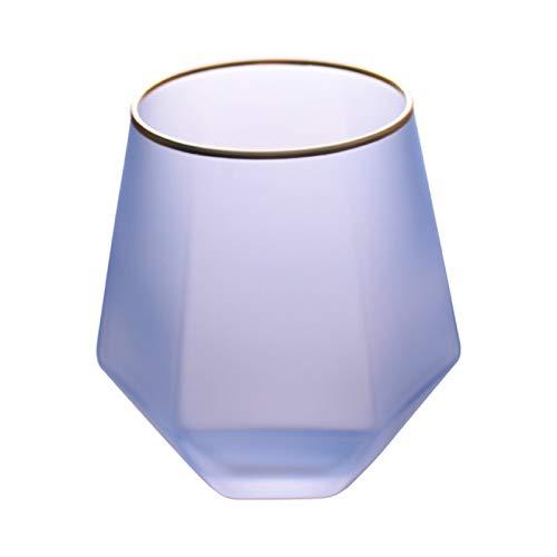 DZHTWSRYGR Vasos de Vidrio Color Creativo Esmerilado Copa de Vino de Seis Lados Vaso de Alcohol Hogar Phnom Penh Vaso de Agua Vaso de Jugo