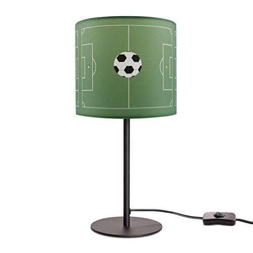 Kinderlampe LED Tischlampe Kinderzimmer Junge Fußball Spielfeld Tischleuchte E14, Lampenfuß:Schwarz + Leuchtmittel, Lampenschirm:Grün (Ø18 cm)
