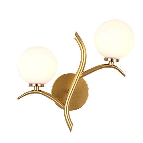 KMMK Lámparas de decoración de pared novedosas, aplique de pared moderno Pantalla de globo de vidrio Lámpara de pared de metal dorado Lámpara de pared interior Lámpara de pared de noche para d