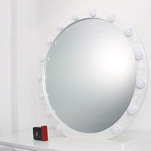 Espejo De Escritorio con Luces Led, Interruptor Táctil Inteligente Redondo, Espejo De Maquillaje, Espejo De Tocador Regulable para Dormitorio, Baño
