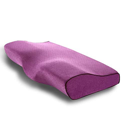 MARSACE Almohada Viscoelastica Almohada Cervical con Altura Ajustable Transpirable Lavable Hipoalergénico Mejorar Sueño Forma Ergonómica Adecuada para Todos los Durmientes 50 * 30 * 10/6cm - Púrpura