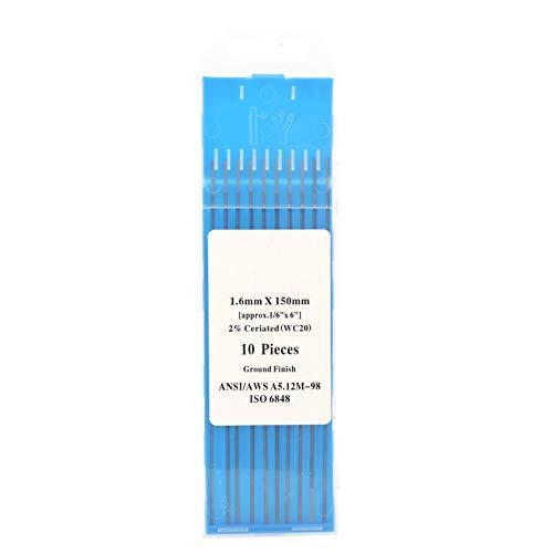 Ladieshow 10 piezas WC20 varilla de electrodo de tungsteno aguja de arco para soldar acero inoxidable fino gris