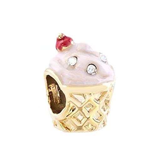 Pandora 925 Colgante De Plata Esterlina Diy Chapado En Oro Copa Cristal Blanco Nacimientos De Abril Rosa Rosa Helado Charms Beads Fit Pulsera