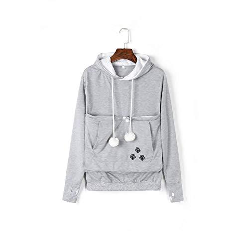 DUBUK Unisex Big Pouch Hoodie Long Sleeve Pet Dog Holder Carrier Sweatshirt Hooded Pocket Kangaroo Hoodie (Gray,Xl)