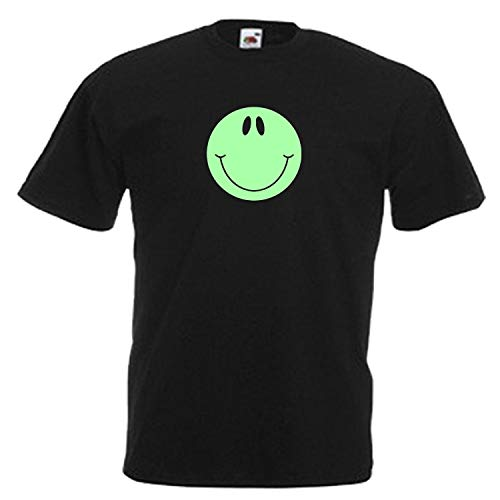 Smiley Face Mens Glow in The Dark Adults Black T Shirt Sizes from Small, Shirt