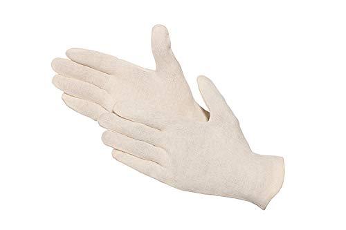 Jah 826 oekotex - Guantes de algodón (12 pares, ligeros, talla 8, 10), color natural