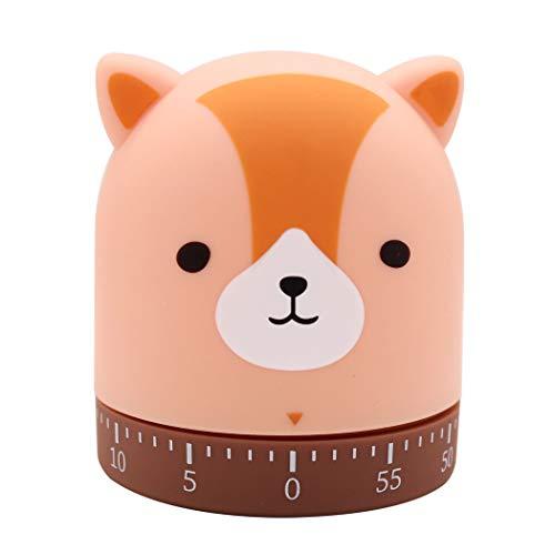 Ranvi Cute Animal Shapes Küchentimer, 60 Minuten mechanisch, Keine Batterie erforderlich(Fuchs)