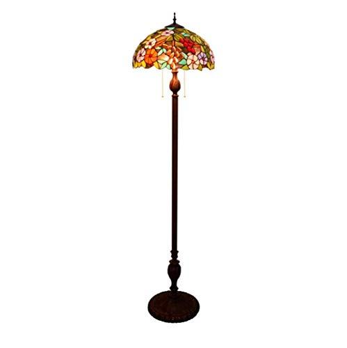 Yjmgrowing Tiffany Style vloerlamp met druivendesign glazen schilderij schaduw 3 licht antieke basis vloerschijnwerper voor slaapkamer woonkamer leesverlichting, 110 V-240 V, E27, 40 W