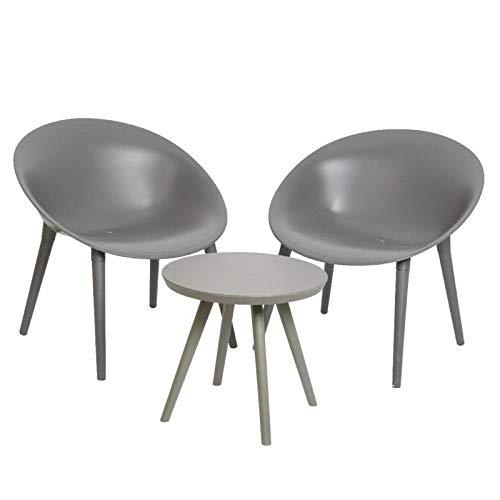 L'Héritier Du Temps Salon de Jardin Moderne Salon de Thé 2 Places Personnes Contemporain Table Bistrot et 2 Chaises en PVC Gris