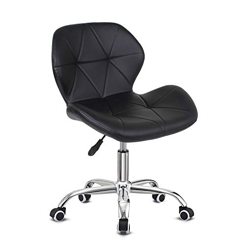 EUCO Black Desk Chair,PU Leather Computer Chair Comfy Padded Office Chair Adjustable Height Swivel Chair,Home/Office Furniture