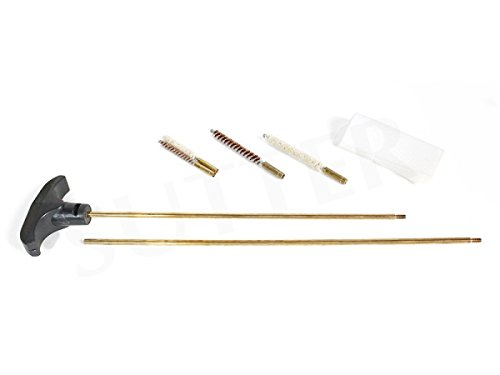 Kit di pulizia armi (7 pezzi) per cal.177/4,5mm e .22/5,5mm * Set di pulizia Armi Pulizia Cura della pistola Con manico, aste in ottone, spazzola in ottone, spazzola per olio, scovolo in lana e panno per la pulizia Il kit per la pulizia delle armi co...