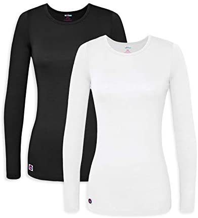 Sivvan 2 Pack Women s Comfort Long Sleeve T Shirt Underscrub Tee S85002 Black White L product image
