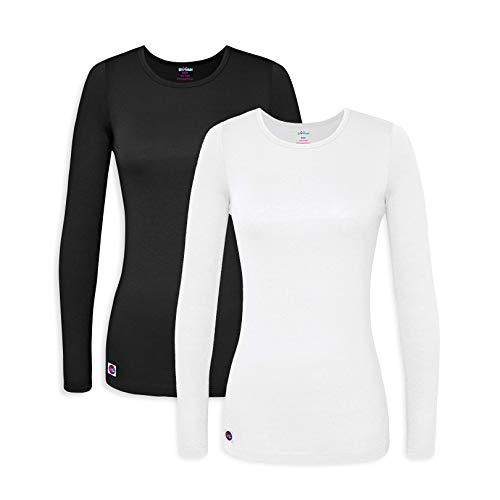 Sivvan 2 Pack Women's Comfort Long Sleeve T-Shirt/Underscrub Tee - S85002 - Black/White - XL