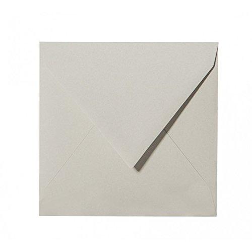50 quadratische Briefumschläge 110 x 110 mm, 11x11 cm, 120 g/m² mit Dreieckslasche Farbe: 04 Grau