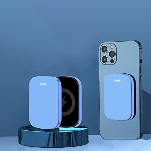 hemiinfo マグネット式 モバイルバッテリー ワイヤレス充電 Qi対応 磁気 吸着 急速充電 無線出力最大15w PD4.0技術搭載 iPhone 12 / 12 Mini / 12 Pro / 12 Pro Max対応 軽量 コンパクト 飛行機 持ち込み おしゃれ ケーブル付属 PSE認証済み 5000mAh ブル