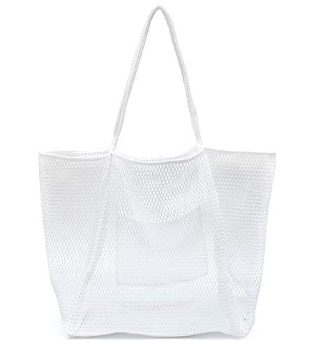 Mesh Beach Tote Womens Shoulder Handbag (New White)