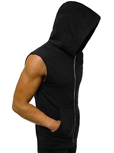 Camiseta sin mangas con capucha para hombre, con cremallera, para entrenamiento, culturismo, entrenamiento, gimnasio, musculación, chaleco sin mangas con bolsillos