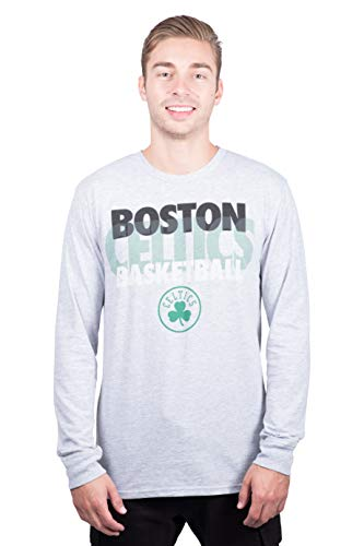 Ultra Game NBA Boston Celtics Mens Supreme Long Sleeve Pullover Tee Shirt, Heather Gray, Large