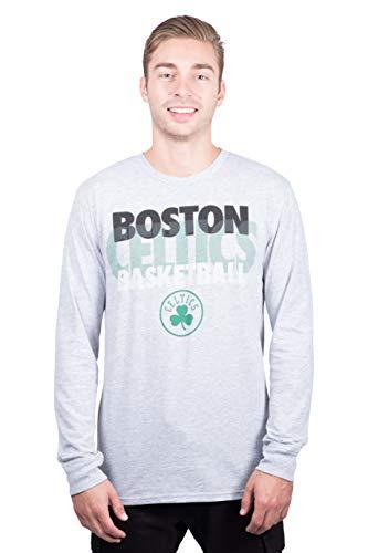 Ultra Game NBA Boston Celtics Mens Supreme Long Sleeve Pullover Tee Shirt, Heather Gray, Medium