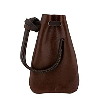 Leather Drawstring Pouch Coin Bag Medicine Tobacco Pouch Medieval Reenactment Size Made in U.S.A by Nabob Leather  Brown Small