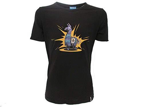 Epic Games T-Shirt Originale Fortnite Bambino Ragazzo Lama Llama Maglia Nera Maglietta (11/12 Anni)
