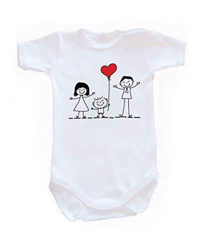 Couleur Mode Dessin Famille Amour Unisexe bodies à manches courtes 100% coton Petit bébé – 24 mois – 0016 blanc tiny baby, 52 cm