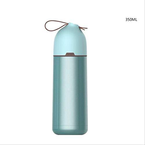 WEQRT Edelstahl-Isolierflasche Isolierschale Mode 304 Edelstahl Auto Wasserschale Student Paare Handschale Kleine Frische Tragbare 300 Ml Grün