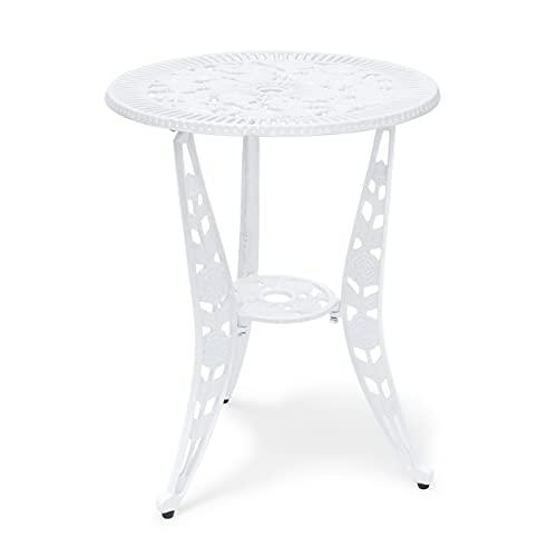 Relaxdays Table de jardin bistrot café terrasse vintage meuble terrasse extérieur style ancien H x l x P 64 x 50 x 50 cm en aluminium imprimé fleurs, blanc