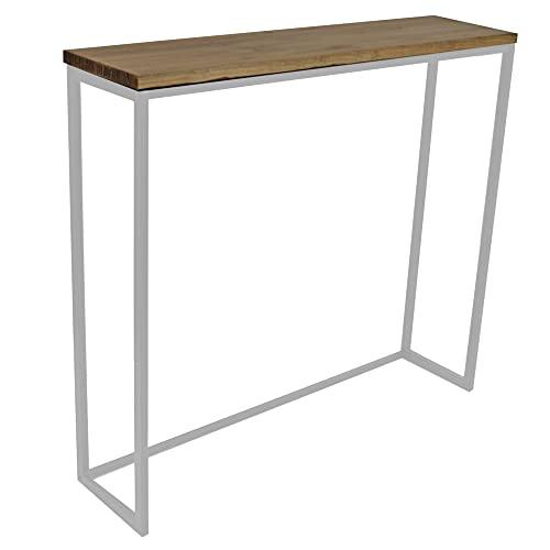 Mesa alta iCub Big Wood 120x30x110cm Blanca en madera maciza de pino con 3cm de grosor acabado vintage estilo industrial Box Furniture