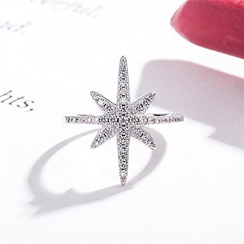 SHENSHI Ringe,Verstellbare Ringe Frische Süße Schneeflocke 925 Sterling Silber Elegante Temperament Ringe Trendy Schmuck Frauen,Silber,Einheitsgröße