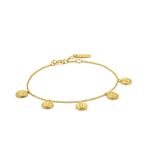 ANIA HAIE 925 Sterling Silver Boho Gypsy Disc Dangle Coin Charms Bangle Bracelet for Women, 14ct Gold Plated