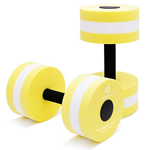 HOXHA Water Dumbells, Aquatic Exercise Dumbell Set of 2 Water Aerobic Exercise Foam Dumbbells Pool Resistance Water Fitness Equipment for Weight Loss (Cyan)