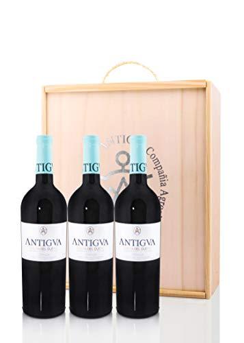 ANTIGVA Crianza 2016-3 Botellas Vino Tinto Tempranillo D.O. Ribera del Duero 0.75 l - Estuche de madera