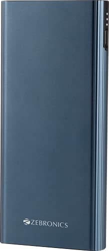 Zebronics ZEB-MD10000MQ1 – 10000 mAh Li-Polymer Power Bank with 20W Rapid Charging, Type C PD Function, Triple Output Ports, Dual Input Ports, Metal Body, Made in India (Blue)