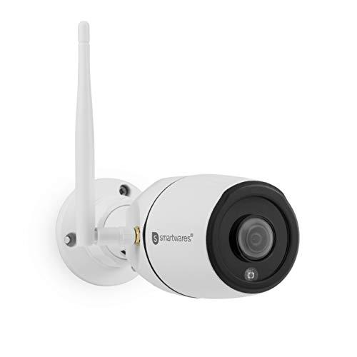 Smartwares Außenbereich 180° Panorama IP Außen-Überwachungskamera/APP Kamera mit SD Rekorder, CIP-39220, Weiß