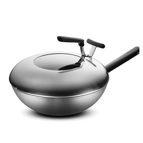 JianMeiHome Wok Wok Pan Saute Pan Huishoudelijke Gietijzeren Wok Ongecoate Niet-roestige Wok Ronde Bodem Gas Cooker Met Deksel