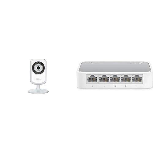 D-Link DCS-932L - Cámara WiFi y Ethernet Videovigilancia IP (Micrófono y Visión Nocturna) + TP-Link TL-SF1005D - Switch Ethernet con 5 Puertos (10/100 Mbps, RJ45, Concentrador de ethernet