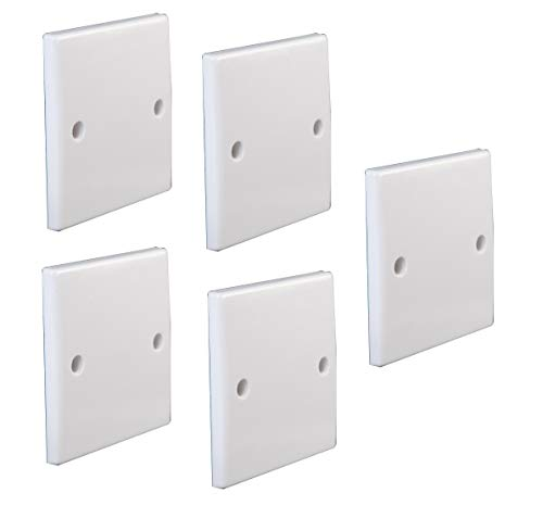 Invero Pack of 5 - Single Gang Electrical Blanking Plate - Standard White Cover Plate for 1 Gang Plug Socket - Curved Finish Edge