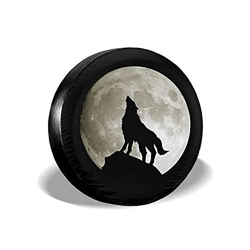 Cubierta para Llantas Wolf Howling at The Moon Poliéster Universal Rueda de Repuesto Cubierta para Llantas Cubiertas para Ruedas para remolques RV SUV Camión Accesorios para remolques