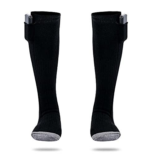 CNNLove Calcetines Calefactables Recargables, Invierno Eléctrico Calcetines Calientes Climatizada para Hombre, Mujer, Caza, Esquí, Senderismo, Calentador De Pies,Negro