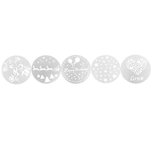FECAMOS Strumenti per stampi per Pittura da Forno per Torta di Natale, Bellissimo Modello Stencil per Torta di Nascita in plastica Riutilizzabile 5 Pezzi per Biscotti, Caramelle, Cioccolato